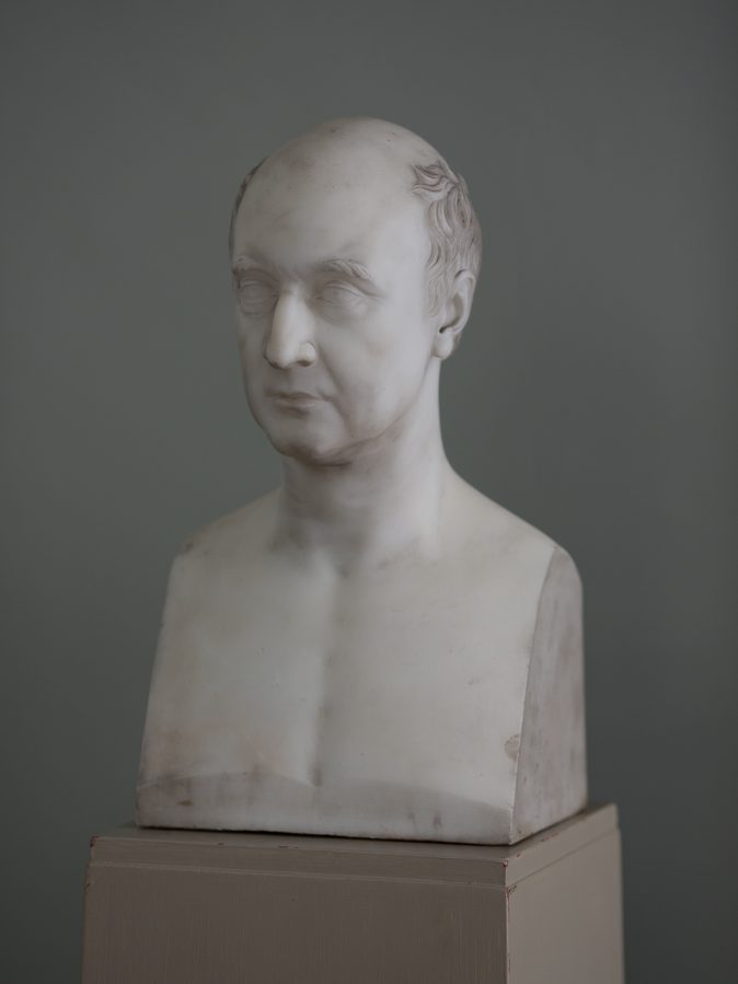 Portrait Bust in Statuary Marble of William Theed the Younger. Ex Browne-Swinburne, Capheaton Hall, Northumberland. Signed and dated. 1830