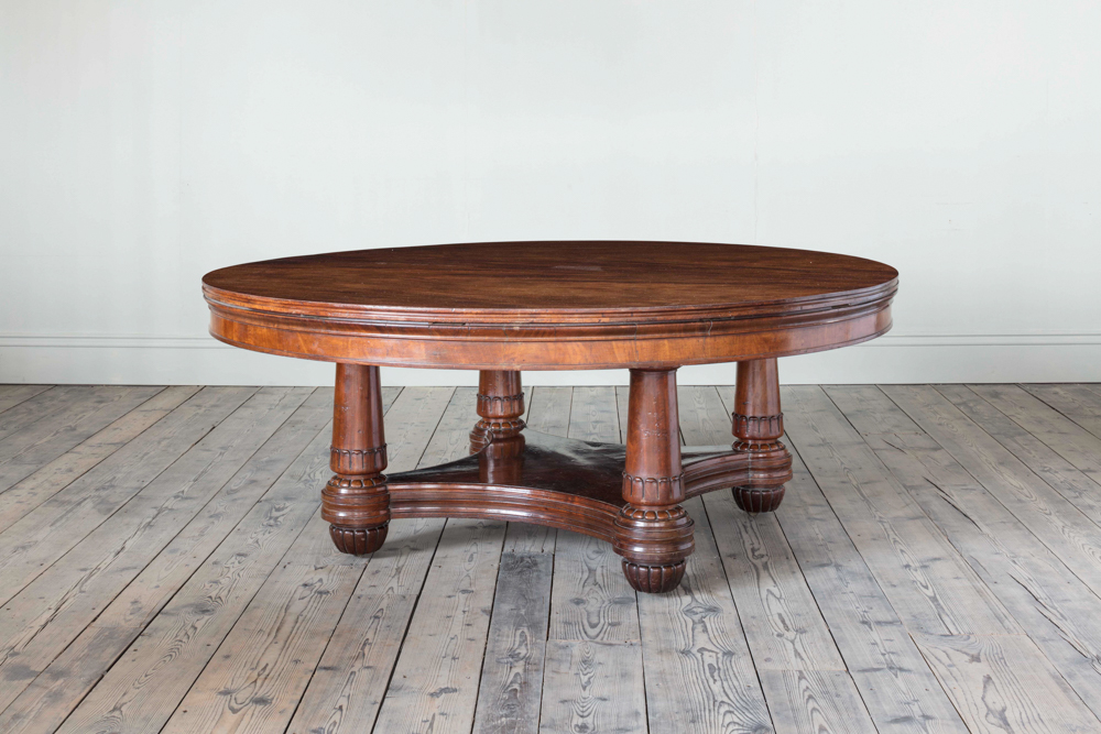 A George Iv Well Figured Mahogany Circular Dining Table In The Manner Of Jupe Hawker Antiques